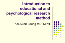 Introduction to educational and psychological research